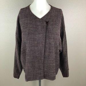 Eileen Fisher Tweed Linen Blend Cardigan Jacket